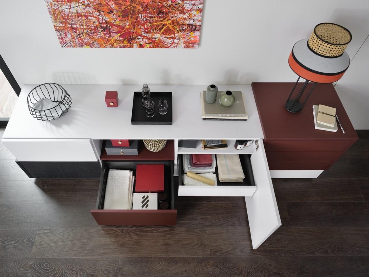 meuble bas design blanc et rouge schmidt